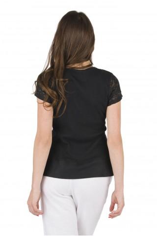 Ленена блуза, комбинирана с дантела - Черна