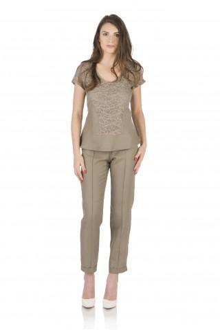 Ленена блуза, комбинирана с дантела - Кафява