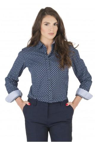 Тъмносиня риза от памук с цветни детайли