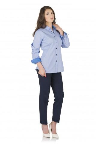 Светлосиня риза от памук на точки