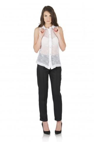 Ленен панталон с дължина 7/8 - Черен