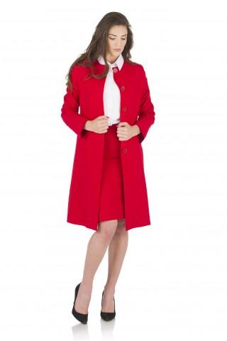 Червено манто от фин вълнен плат