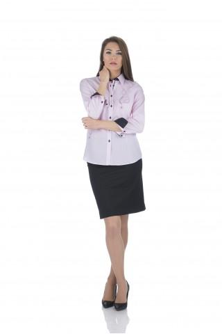 Бледорозова памучна риза с бродерия