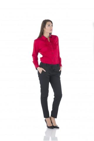 Червена памучна риза с къдри