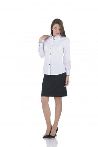 Бяла памучна риза с къдри