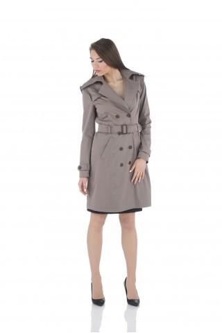 Дамски шлифер в кафяво от водонепропускащ плат