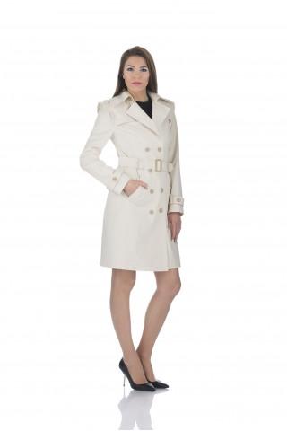 Дамски шлифер в екрю от водонепропускащ плат