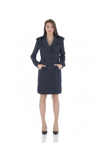Дамски шлифер в тъмносиньо от водонепропускащ плат