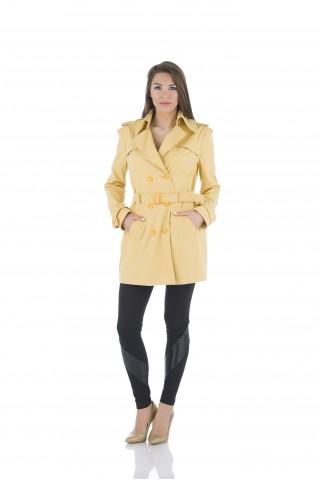Дамски шлифер в жълто от водонепропускащ плат