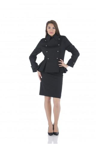 """Черно двуредно сако с пеплум от """"студена"""" вълна"""