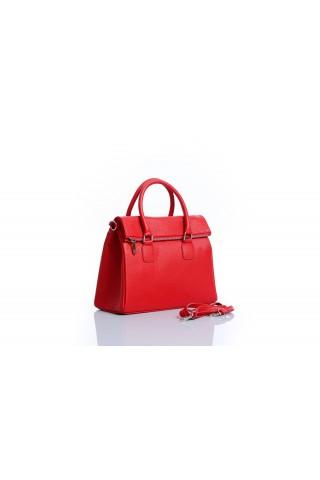 Чанта от естествена кожа и допълнителна дръжка за рамо (червена)