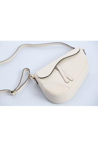 Чанта тип паласка от естествена кожа с дълга дръжка