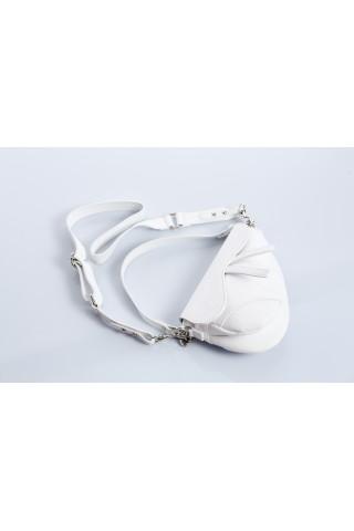 Чанта тип паласка от естествена кожа с дълга дръжка (бяла)