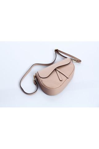 Чанта тип паласка от естествена кожа с дълга дръжка (бежова)