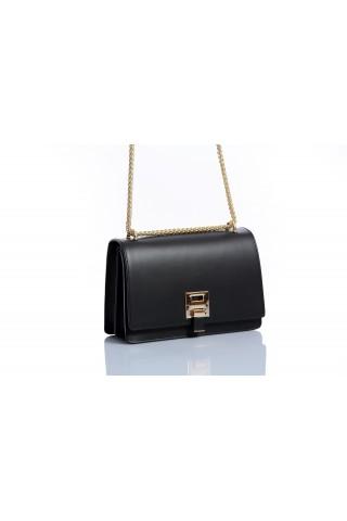 Кокетна чанта от естествена кожа с ефектна дръжка (черна)