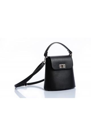 Малка градска чанта от естествена кожа (черна)