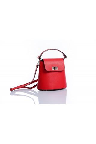 Малка градска чанта от естествена кожа (червена)