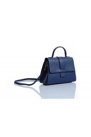 Градска чанта от естествена кожа с дълга дръжка (синя)