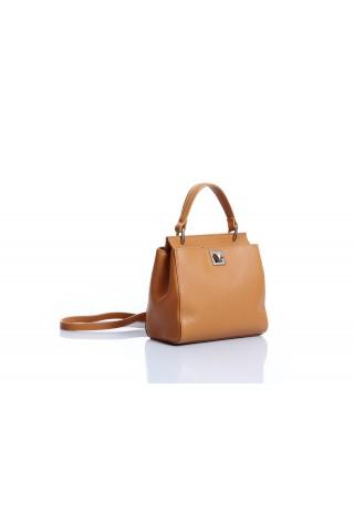 Градска чанта от естествена кожа за през рамото (кафява)