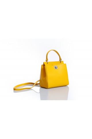 Градска чанта от естествена кожа за през рамото (жълта)