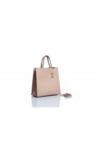 Чанта от естествена кожа тип пазарска (бежова)