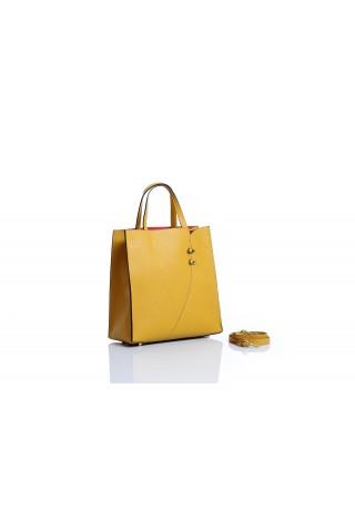 Чанта от естествена кожа тип пазарска (жълта)