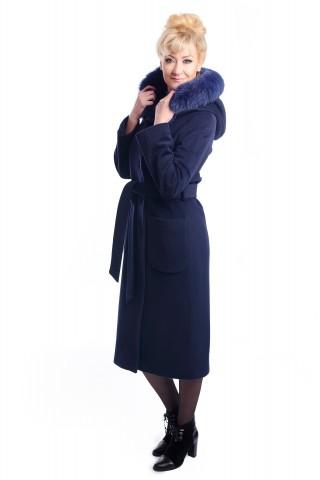 Тъмно синьо палто  с качулка и кожа от лисица