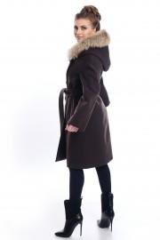 Кафяво палто с колан и кожа от лисица