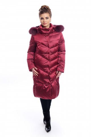Дълго пухено яке в цваят бордо