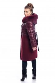 Дълго, комбинирано палто в цвят бордо
